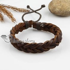 leather jewelry for women | ... bracelets > Adjustable woven leather bracelets for men and women