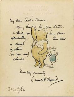 A scarce, original ink and watercolor drawing by Ernest H. Shepard of Winnie-the-Pooh and Piglet, the characters he brought to life in A. Milne's classic children's books, drawing was signed and dated February Winnie The Pooh Drawing, Winnie The Pooh Quotes, Christopher Robin, Eeyore, Tigger, Eh Shepard, Children's Book Illustration, Oeuvre D'art, Childrens Books