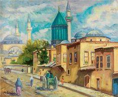 Abdullah Çizgen Konya 60.00 x 73.50 cm. 1957 Tual üzerine yağlıboya