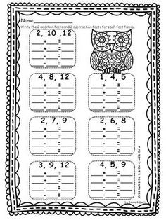 math worksheet : 1000 images about 1st grade on pinterest  fact families  : Addition Fact Worksheet