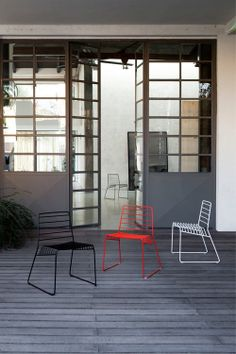 "These ""Park Chairs"" by Italian design company B-LINE would be the perfect stackable solution for occassional outdoor seating. via Design Milk."