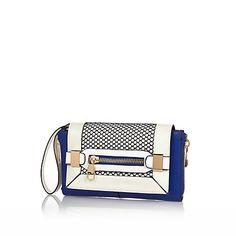 Blue contrast panel fishnet clutch bag £25.00 #riverisland Clutch Bag, Crossbody Bag, Carry On Suitcase, Fashion Clothes Online, Womens Purses, Fishnet, Accessories Shop, Sale Items, Contrast