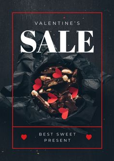 Valentine's Day Present Box with Chocolates — Create a Design Valentines Day Presents, Valentines Sale, Valentine Chocolate, Poster Ideas, Flyer Design, Chocolates, Ecommerce, Graphic Design, Templates