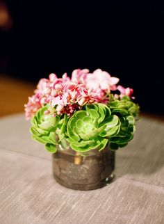 imagine these petit succulent arrangements surrounding a tall wood candelabra with a big ball of matching succulents and fresh flowers resting on top...so pretty