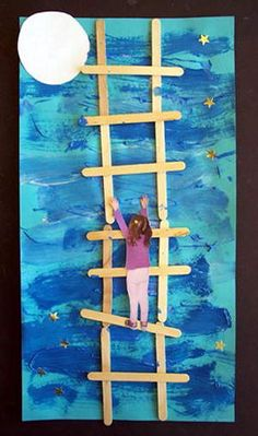 """Could be cute Mother's/Father's day artwork. """"I love you to the moon and back"""" Well I have a Father's Day gift for my kids at work to make now! Preschool Crafts, Crafts For Kids, Arts And Crafts, Arte Elemental, Classe D'art, Dad Day, Fathers Day Crafts, Classroom Crafts, Mother And Father"""