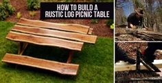 How to EASILY Build a Rustic Log Picnic Table Rustic Log Furniture, Outdoor Furniture, Outdoor Decor, Outdoor Ideas, Furniture Ideas, Log Homes, Picnic Table, Wood Crafts, Woodworking