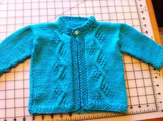 Knit Baby Sweater 6-9 months in Vibrant Blue by BlissfulFiber, $21.00