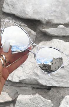 Indecent Cateye Sunnies - Silver + White Frame