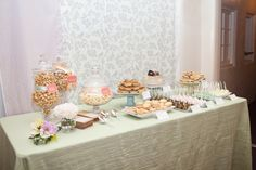 Rustic pastel wedding featuring a lovely dessert table with a Krinkle Mint linen from Napa Valley Linens
