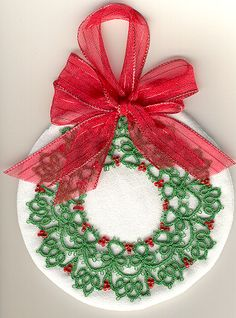 Laura's Beaded Wreath ...... this would make a nice circular mat/coaster as well, or a necklace ?!  Free Pattern
