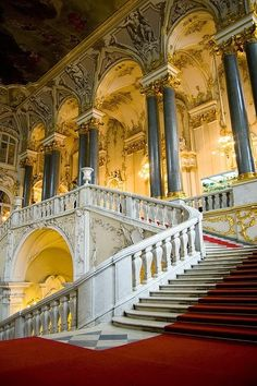 "The Main Staircase of the Winter Palace - cannot even begin to imagine calling this ""home"". Breathtaking."