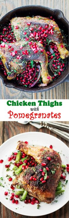 Pomegranate Chicken Thigh Recipe, a must try fall-off-the-bone perfection! Step-by-step pictorial instructions at http://www.themediterraneandish.com/pomegranate-chicken-thigh-recipe/