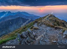 Sunset Over The Fagaras Mountains, Romania. View From Negoiu Peak 2535m. Стоковые фотографии 131535644 : Shutterstock Splashback, Romania, Photo Editing, Royalty Free Stock Photos, Mountains, Sunset, Illustration, Travel, Editing Photos