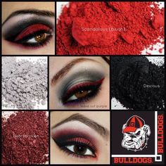 Georgia Bulldogs!! 3 different looks inspired by the Georgia Bulldog's colors. Use Younique Pigments to recreate these inspired look! Show and wear your team spirit.