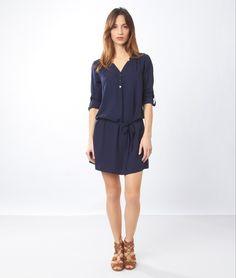 Robe blouse ceinturée - JOLY - BLEU MARINE - Etam