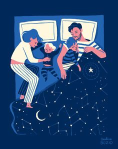 Family Sleeping by Carolina Buzio • mappingparacosms.com • pinterest: @mermaidgrime