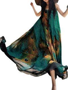 GRACILA bohemia de las mujeres sin mangas del cuello de O pavo real imprimió el vestido maxi