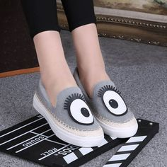 Women Canvas Platform Loafers Round Toe Casual Cartoon Flats Soft Bottom Loafers