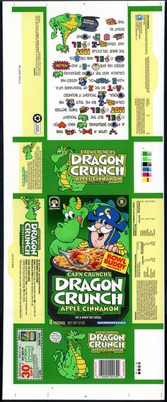 Quaker - Cap'n Crunch's Dragon Crunch Apple Cinnamon hot cereal box proof - test market - 1991 by JasonLiebig, via Flickr