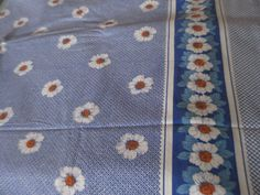 "2 x Vintage Duvet Cover plus 1 x Pillow Case ""Kamilla"", blue vintage fabric, floral fabric, twin duvet fabric, white flowers, blue euro sham..."