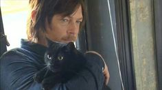 Norman Reedus with his cat Eye In The Dark :)