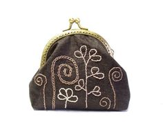 Brown silk and embroidered  frame coin purse by diohej on Etsy, $28.00