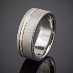 Men's Rose Gold Pinstripe Flanked Wedding Band in Titanium made by Spexton.com