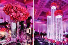 crystal chandelier centerpiece, mercury vases, glass vases, tall centerpiece floral