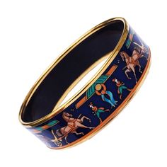 Hermes Enamel Bangle Bracelet 1980s | From a unique collection of vintage bangles at https://www.1stdibs.com/jewelry/bracelets/bangles/