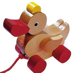 Pull along toys are the ultimate toys for toddlers! HABA's classic Wooden Duck Pull Toy stimulates toddlers to crawl and walk, and makes learning these new skills fun! This sweet duck pull toy happily