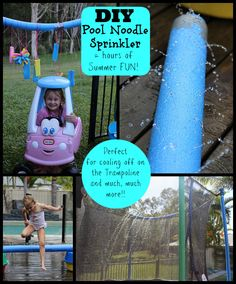 DIY Pool Noodle Sprinkler – Paging Fun Mums We were after a FUN and safe way for the kids to cool-off on our Trampoline…one that didn't require me to hold the hose! School Holiday Activities, Summer Activities For Kids, Diy For Kids, Fun Activities, Crafts For Kids, Outdoor Activities, Kids Fun, Toddler Activities, Cool Diy