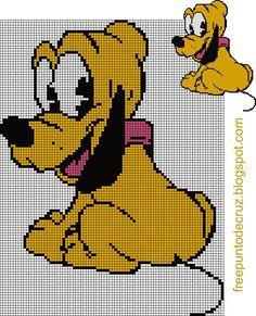 Dibujos Punto de Cruz Gratis: Pluto punto de cruz  - Cross Stitch                                                                                                                                                                                 Más
