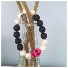 Pink Howlite Skull Bracelet by StudMuffinBoston on Etsy, $18.00