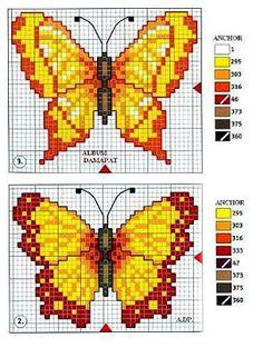 Modern Cross Stitch Patterns, Counted Cross Stitch Patterns, Cross Stitch Designs, Cross Stitch Embroidery, Butterfly Cross Stitch, Butterfly Pattern, Cross Stitch Flowers, Cross Stitch Cards, Cross Stitch Animals
