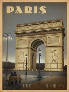 Paris Arc de Triomphe vintage travel poster