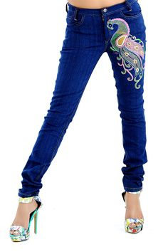 This jeans, from the house of Jaltee, gives an Indian flavor to an otherwise simple western clothing. Comfortable and trendy, this pair of glowing jeans will set you apart from the crowd. Electroluminescent wire or EL wire added jeans Electroluminescent Wire, Embroidered Jeans, Western Outfits, Crowd, Peacock, Skinny Jeans, Pairs, Indian, Simple