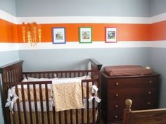 like the stripe, maybe in red with darker grey for Logans room
