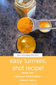 This powerful anti-inflammatory turmeric shot recipe is easy to make at home and full of benefits including pain releif and delayed aging. Tumeric Shots, Turmeric Drink, Turmeric Recipes, Tumeric Tea Recipe, Turmeric Bombs, Turmeric Detox, Turmeric Smoothie, Juice Smoothie, Fruit Smoothies