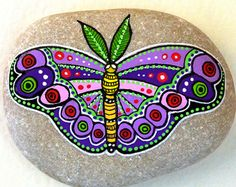 Hand Painted Stone Butterfly Beach pebble with hand-painted designs in acrylics © Sehnaz Bac 2017  I paint and draw all of my original designs by hand with the small brushes or paint pens with extra fine tip. I use also different inks. No stencils are used. All designs are created with my imagination.  These pebbles were found on the beaches of Adriatic Sea. Each was chosen for its shape, smoothness and uniformity. They are protected with 2 or 3 layers of high quality , UV filtered acrylic…