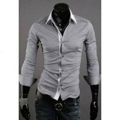 $11.01 New Style Simple White Collar Design Casual Long Sleeve Shirt For Men