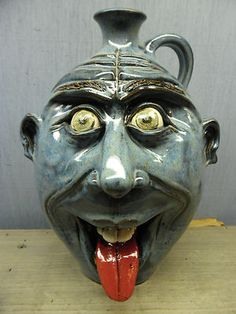 Blue Tounge Pottery Face Jug By Ryan Mckay Seagrove N.C                                                      Mouse over image to zoom