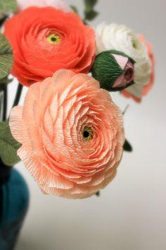Ranunculus, Salmon, Rose, Paper, Flowers, Plants, Handmade, Pink, Hand Made