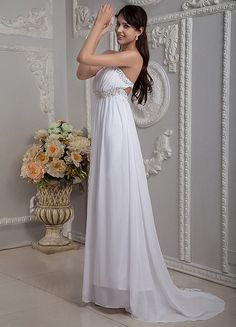 White Chiffon Beading Empire Waist Strapless Prom Dress