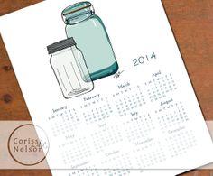 2014 Mason Jar Art Calendar Instant Printable on Etsy, $4.00 Ball Canning Jars, Ball Mason Jars, Mason Jar Art, Printable Art, Printables, Family Command Center, Art Calendar, Love, Clip Art