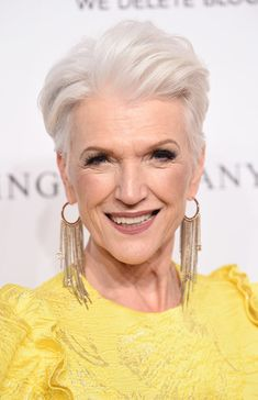 : Maye Musk Fauxhawk - Maye Musk attended the DKMS Love Gala 2018 wearing her silver hair in a fauxhawk. Hairstyles Over 50, Older Women Hairstyles, Trending Hairstyles, Ponytail Hairstyles, Short Hair Cuts, Short Hair Styles, Pixie Cuts, Maye Musk, Grey Hair Over 50