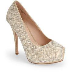 "Lauren Lorraine 'Danielle' Embellished Platform Pump, 4 1/2"" heel (1.114.775 IDR) ❤ liked on Polyvore"