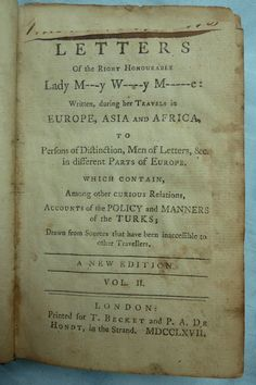 Rare Book - Letters of Lady Mary Wortley Montagu - Volume II - London 1767 - Antique Travel Essays from Turkey - Antiquarian Book
