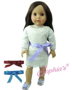 Long Sleeve Lace Dress w/ Set of 3 Ribbon Belts Fits 18 Inch American Girl Doll Clothes