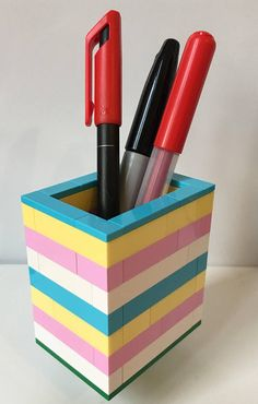 Lego Desk Tidy Pen Holder Pencil Holder