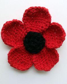 Poppy Flower Free Crochet Pattern from Maggie's Crochet.